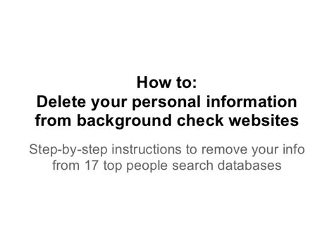 Personal Information Background Check How To Delete Your Personal Information From Background Check Websit