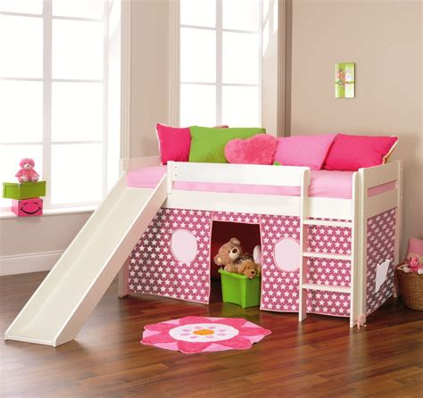 play bed play 3 midsleeper bed with slide tent pink by stompa