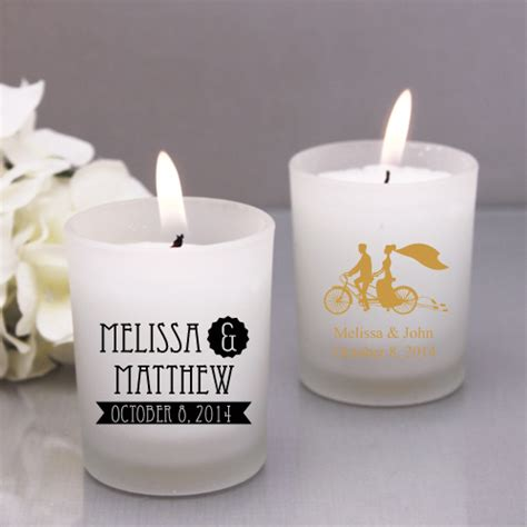 personalized candle wedding favors rustic style personalozed frosted glass candle favor