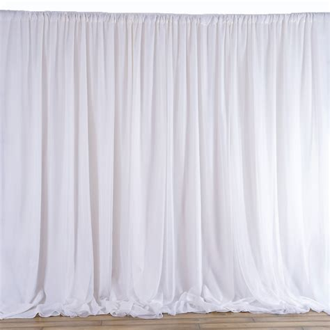 Wedding Backdrop Curtains 6 M X 3 M White Fabric Backdrop Wedding Photobooth Curtain Decorations Ebay