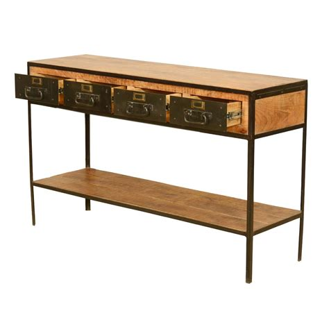Entry Foyer Table Industrial Iron 4 Drawer 2 Tier Rustic Entry Way Console Foyer Table