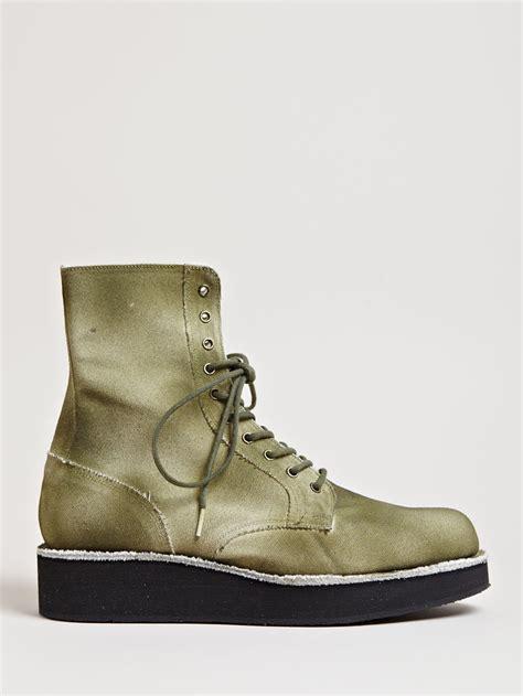 mens platform boots yohji yamamoto canvas platform boots in for khaki lyst
