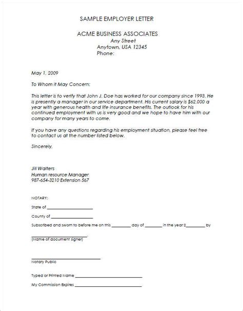 Employment Verification Letter Notarized Employment Verification Letter Templates Free Premium Creative Template