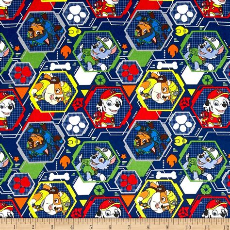paw background paw patrol bones and paws blue background cotton quilting