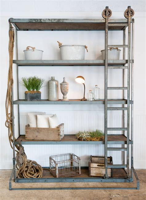 Rustic Home Decorating Ideas Living Room vintage industrial shelf with rolling ladder white shanty