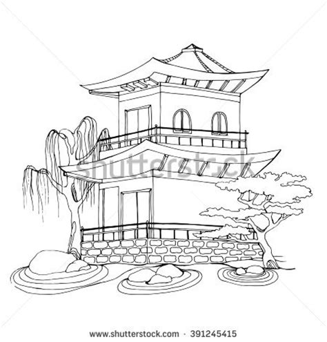 chinese house coloring page japanese pagoda coloring pages