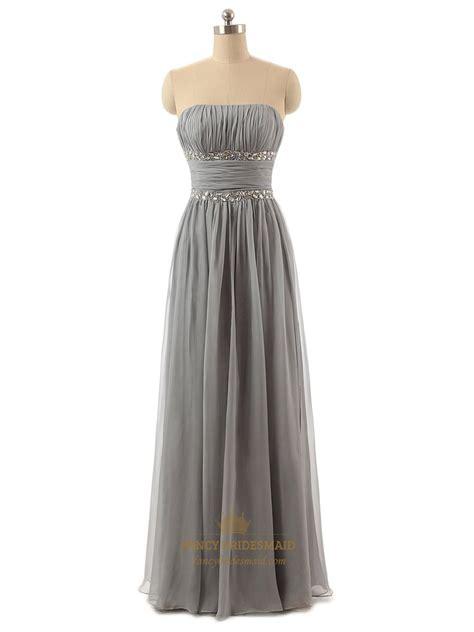 Gray Floor Length Bridesmaid Dresses by Grey Strapless Crinkle Chiffon Floor Length Bridesmaid