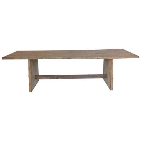 japanese naturally bleached elmwood trestle table at 1stdibs