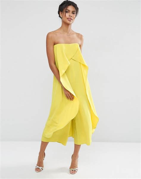 asos bandeau jumpsuit with ruffle overlayer chartreuse in yellow lyst