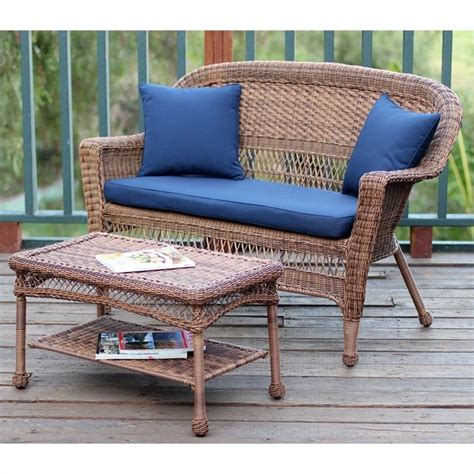 Patio Table Cushions by Jeco Wicker Patio Seat And Coffee Table Set In Honey
