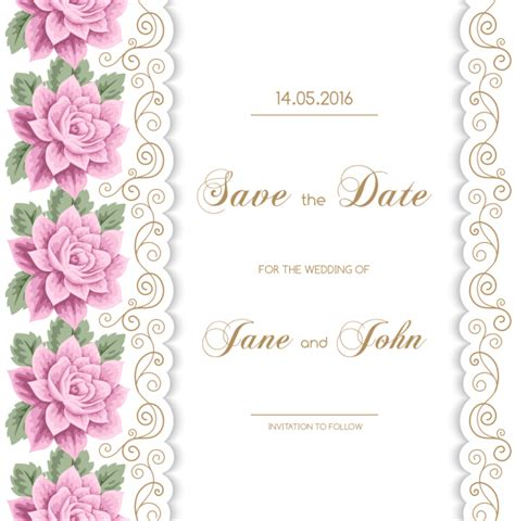 wedding invitation card design vector free download wedding invitation card with flower vintage vector 01