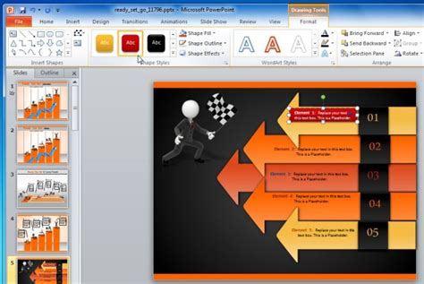 Create Business Performance Powerpoint Presentations With Ready Set Go Template Eye Catching Powerpoint Templates