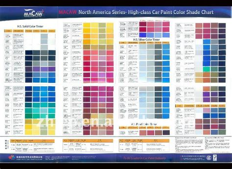 car paint colour charts australia