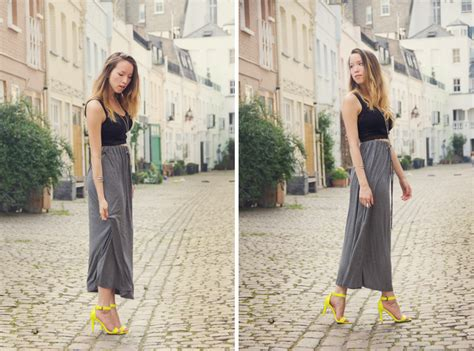 maxi skirt lace bralet and neon yellow heels in