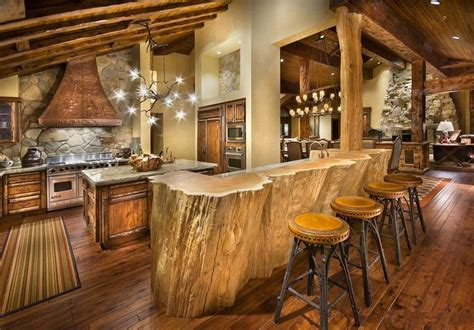 rustic restaurant design ideas with unique ceiling light rustic cabin kitchen design with log wood bar table and