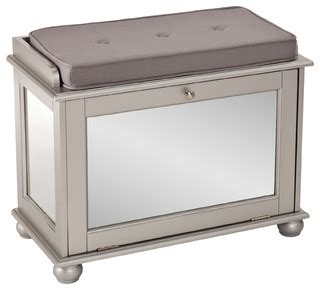 mirrored storage bench roanne mirrored shoe bench transitional accent and