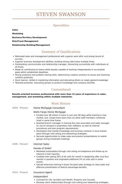 Mortgage Consultant Resume samples   VisualCV resume samples database