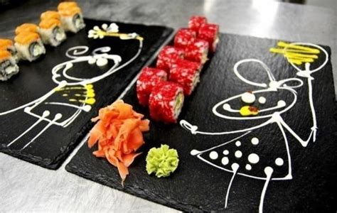 Food Plate Decorating Ideas by Painted Sushi Plates For Creative Table