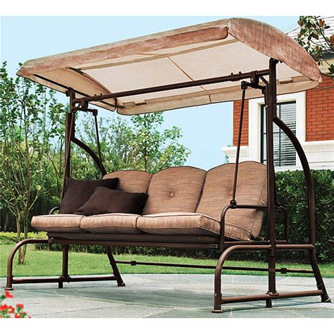 Patio Swing At Walmart Mainstays Sand Dune 3 Seater Swing Unassigned Home