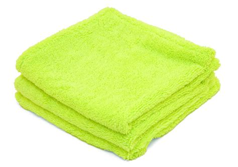 soft deluxe green microfiber towels with rolled