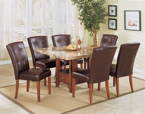 Brown Marble Dining Table Bologna Brown Marble Top Dining Table Set Leather Pu Chairs Storage Base 7pc