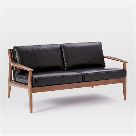 mathias mid century wood frame leather sofa west elm