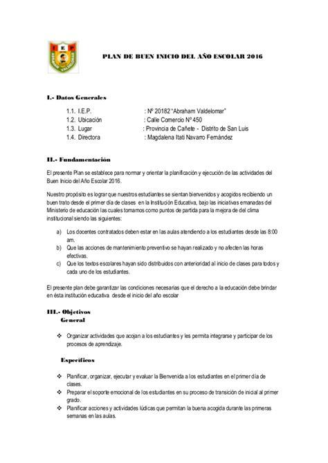 directiva de apertura del ao escolar 2016 programa del buen inicio del a 241 o escolar 2016