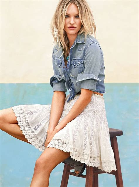 chambray and white lace skirt summer