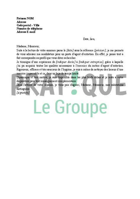 Exemple De Lettre De Motivation Pour Nettoyage Modele Cv D Entretien Du Batiment Cv Anonyme