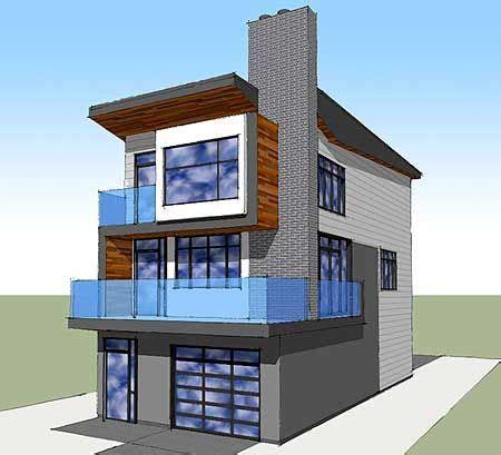 Contemporary House Plans Narrow Lot by Narrow Lot Contemporary Home Plan