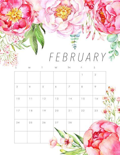 floral february  wall calendar wallpaper  desktop laptop iphone  floral calendar