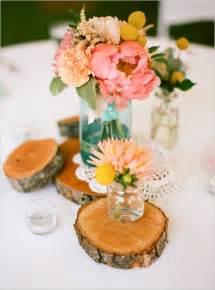jar and wood centerpieces jar centerpiece wedding