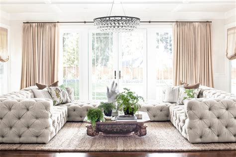 tufted sectional family room traditional with beige