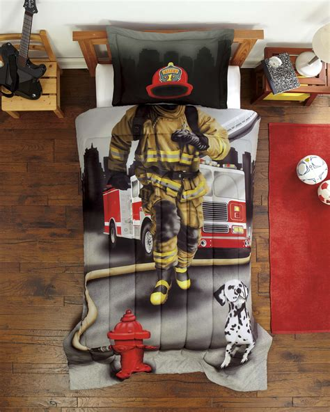 new firefighter boys photo realistic 2 pc comforter sham