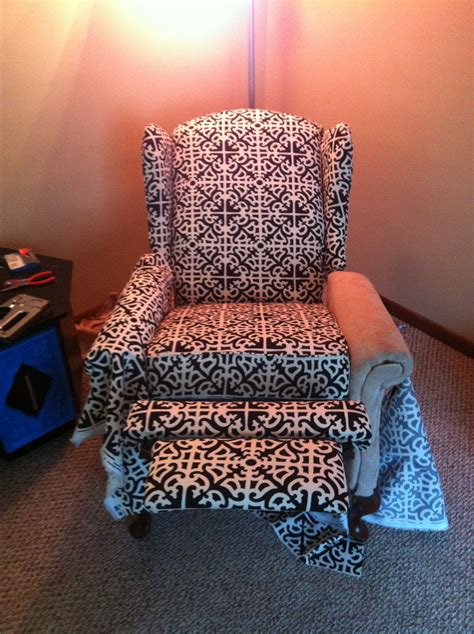 how to reupholster a recliner reupholstered reclining wingback chair spoonfulofjemily