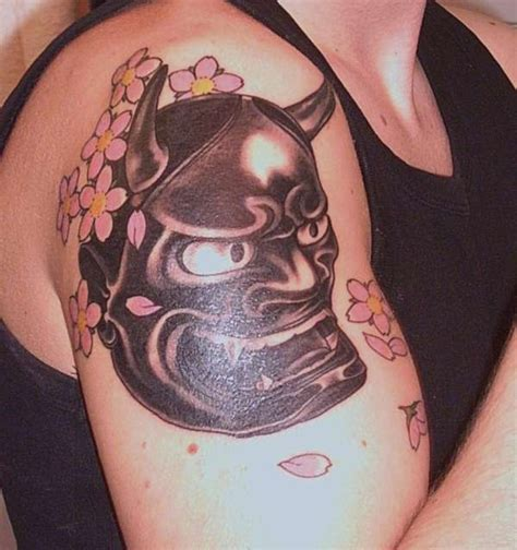 hannya mask tattoo black mask tattoos and designs page 91