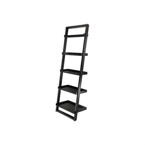 Winsome Bailey Leaning Shelf 5 Tier Ladder Black Bookcase Leaning Ladder 5 Shelf Bookcase