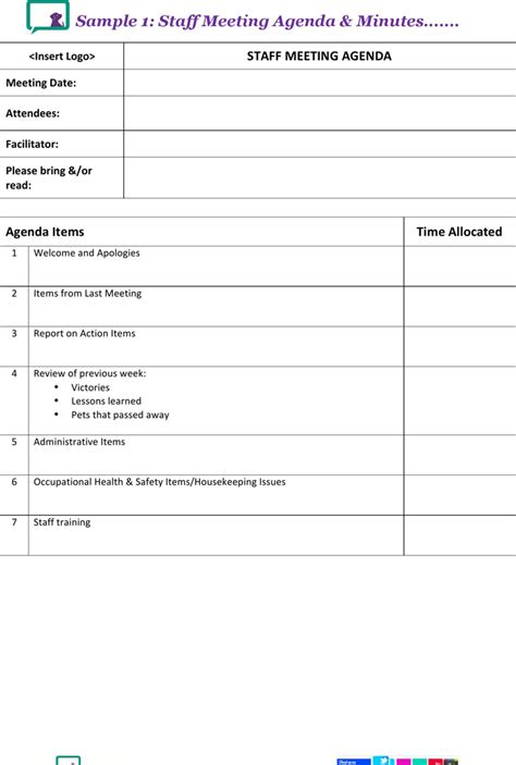 download staff meeting agenda minutes template for free