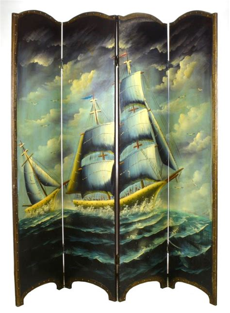 Nautical Room Divider Antique Nautical Ship Painting 4 Part Room Divider