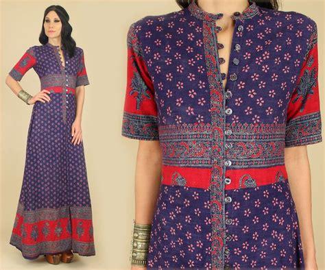 Cotton Dress S M 30285 vtg 60 s 70 s indian cotton block printed maxi dress