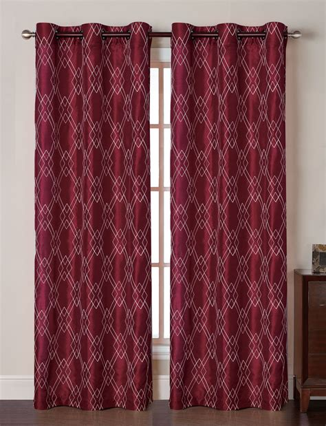 burgundy curtain panels pair of mya burgundy faux silk window curtain panels w