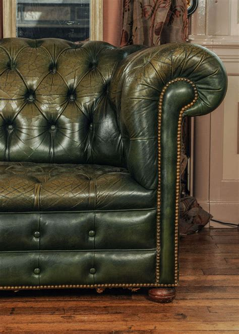 green vintage couch vintage green leather chesterfield sofa at 1stdibs