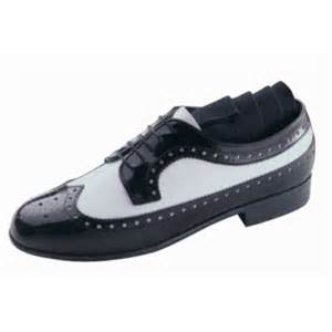 black white patent leather wing tip tuxedo shoes