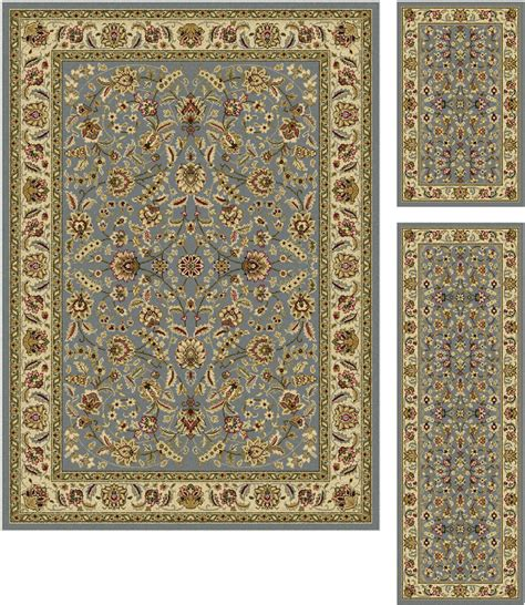 Area Rugs And Runner Sets 3 Set Laguna Blue Traditional Flowers Vines 5076