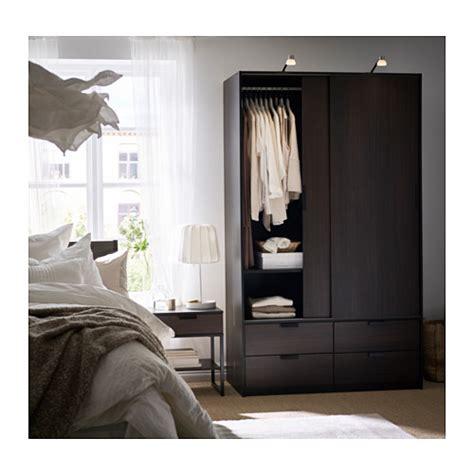 trysil wardrobe w sliding doors 4 drawers brown