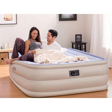 intex queen  raised downy airbed mattress  built