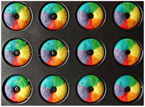 Rainbow Donut mini rainbow vanilla bean donuts