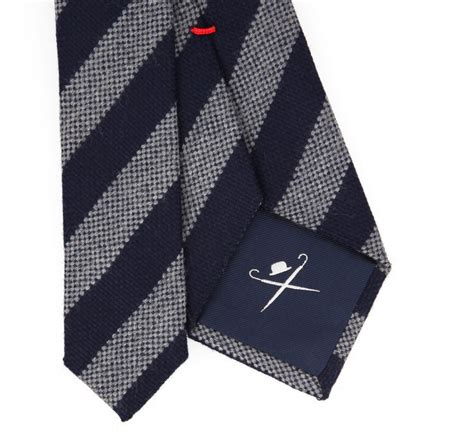 navy blue and grey stripes hackett wool tie the house of