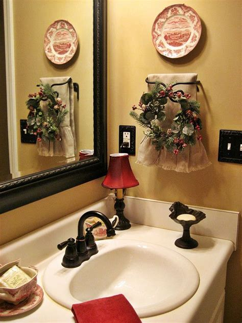 holiday bathroom accessories cheerful christmas themed bathroom decor ideas