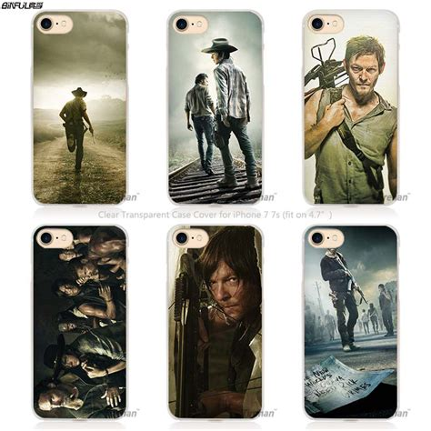 The Walking Dead Iphone 5 5s Se 6 Plus 4s Samsung Htc Sony Cases 8 binful the walking dead rick daryl transparent phone cover coque for apple